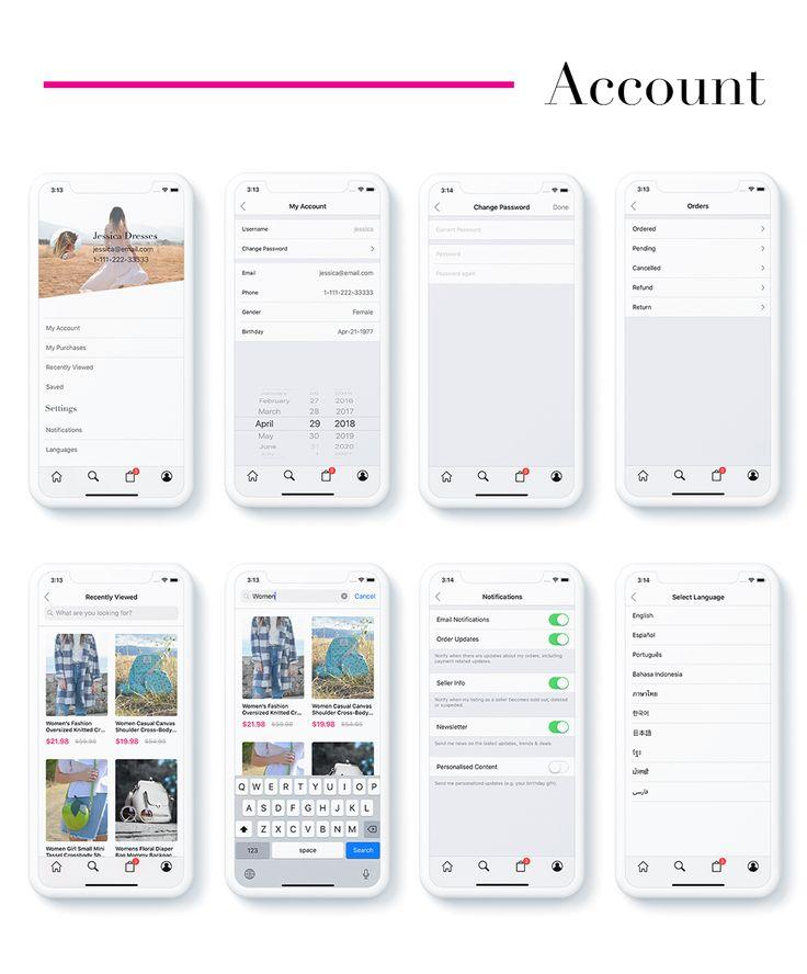 Jessica, Fashion App UI Template - Programmatically