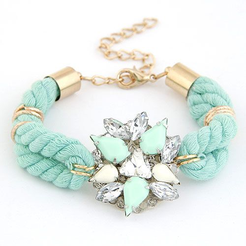 New Arrive Handmade Crystal Bracelet Imitated Gemstone Jewelry Flower bracelets bangles Cotton Rope Charms pulseiras Women(China (Mainland))
