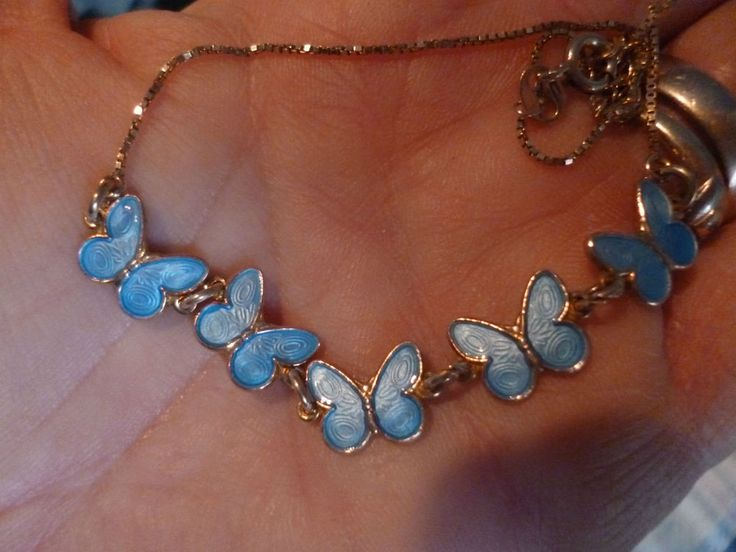 vintage norway signed arne nordlie blue butterfly silver gilt & enamel necklace