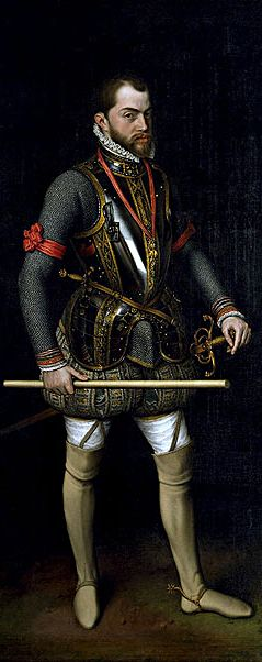 Philip II of Spain,1554 – 1598, Anthonis Mor.  (sender of the  Spanish Armada)