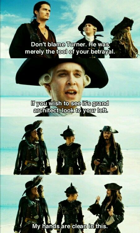POTC〖 Disney Pirates of the Caribbean Cutler Beckett Captain Jack Sparrow Hector Barbossa Elizabeth Swann look to your left 〗
