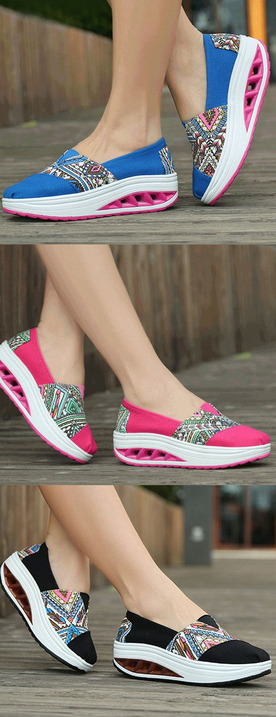 $18.62 Pattern Print Comfortable Slip On Rocker Sole Shake Women Shoes,sport shoes for women,sport flats,casual flats,running shoes