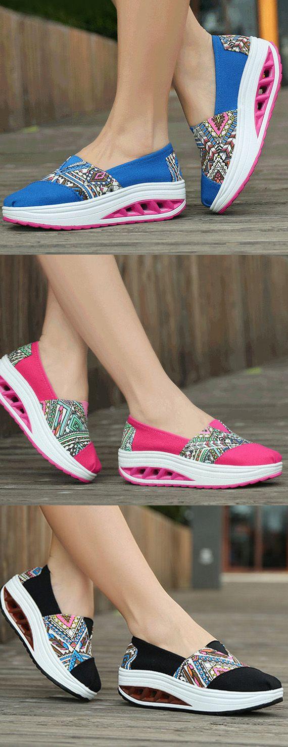 $18.62 Pattern Print Comfortable Slip On Rocker Sole Shake Women Shoes,sport shoes for women,sport flats,casual flats,running shoes