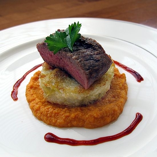 Grilled Lamb Loin, Pasilla-Cherry Reduction, Green Chile Grits Cakes ...