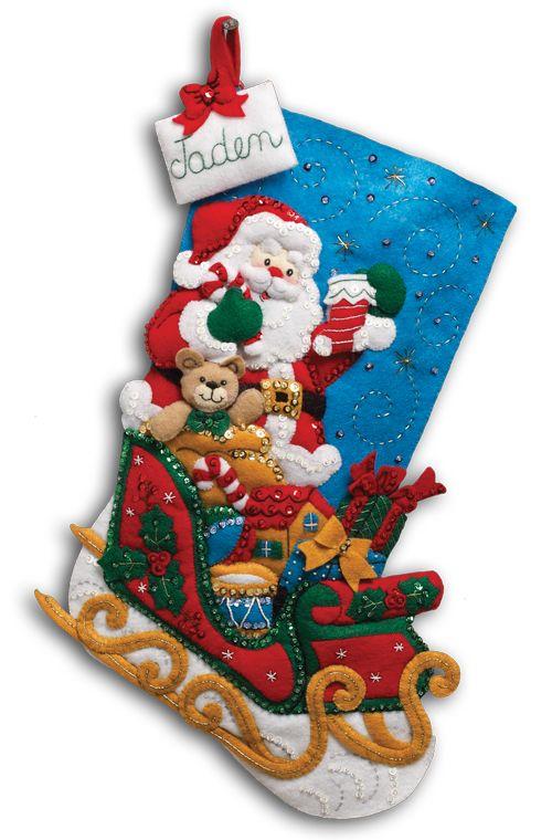 Santa and His Sleigh Large Bucilla Stocking Large