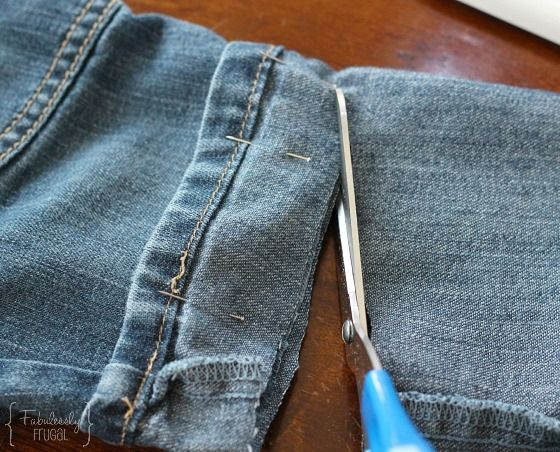 Shorten jeans and pants with the original hem