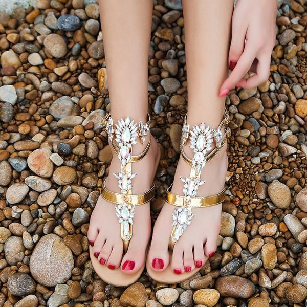 Woman Sandals 2019 Flat Crystal