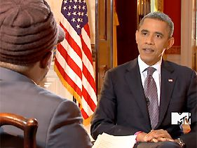 """Sway Calloway and President Barack Obama during """"Ask Obama Live""""President Obama Says There's 'No Excuse' For Not Voting  'Every young person who's listening: Don't believe this idea that your vote does not matter,' he tells MTV News during 'Ask Obama.'"""