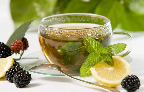 Обои картинки фото чай, ягоды, ежевика, натюрморт, лимон