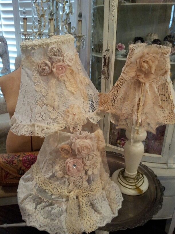 DIY, Made all these lampshades using old lace tablecloths and handmade rosettes
