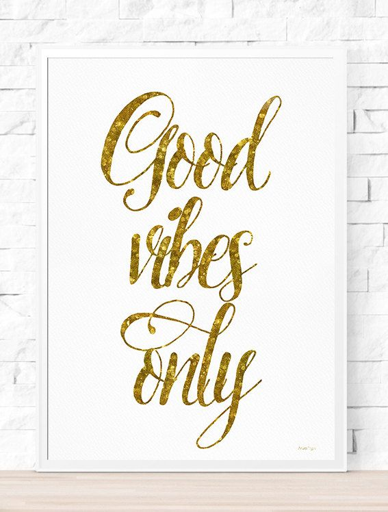 Golden  Good Vibes Only Typography Poster от AristaType на Etsy