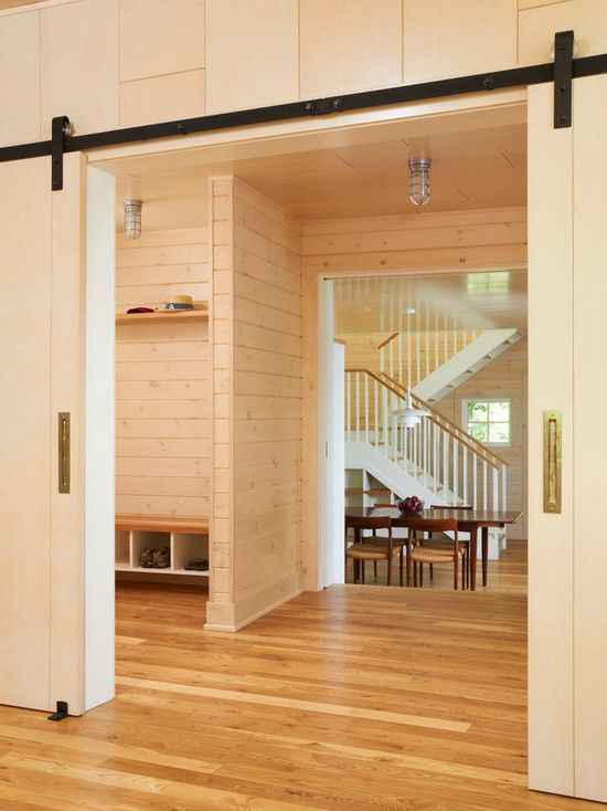 Door, Modern Hall With Adorable Barn Doors For Homes Also Modern Black Barn Door Sliders And Laminate Floor Also Comely Board Wall Accent: Industrial House Decor with Barn Doors for Homes