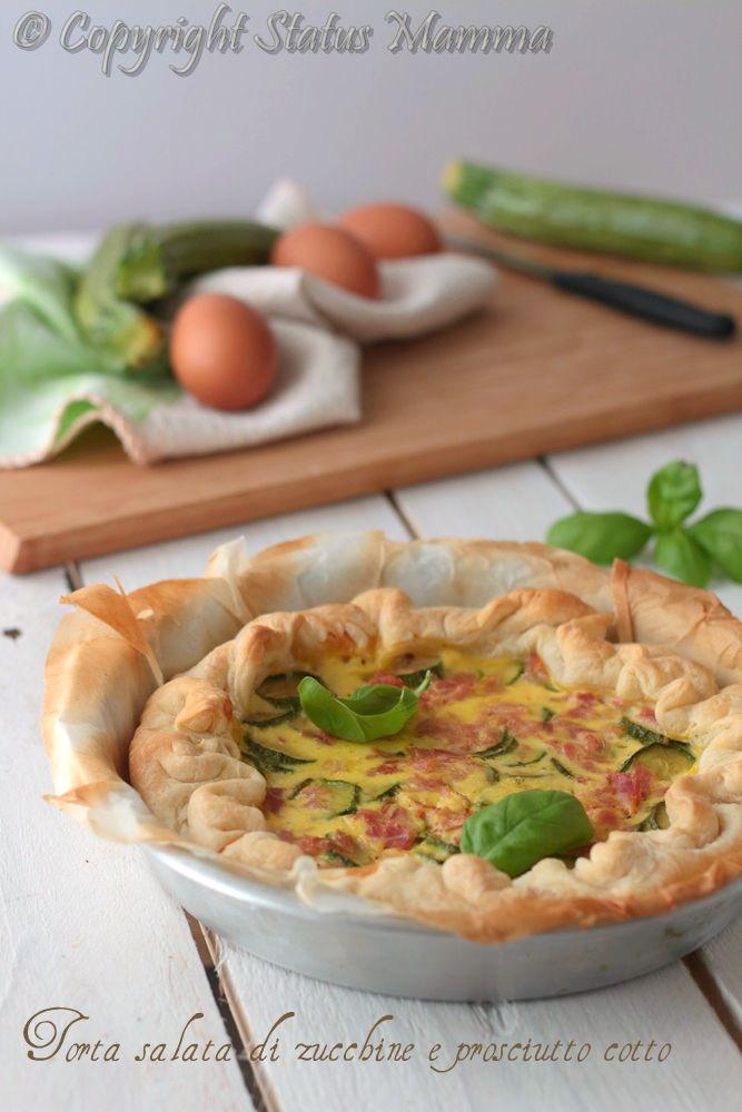 Torta salata di zucchine e prosciutto cotto ricetta con pasta sfoglia facile veloce economica ottimo come secondo o da portare al sacco.