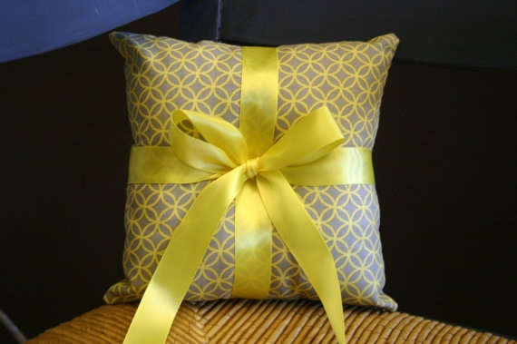 Wedding Ring Bearer Pillow  yellow and gray by chasenlevi on Etsy, $15.00