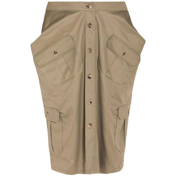 Chalayan Military Skirt ($621) ❤ liked on Polyvore featuring skirts, chalayan, brown skirt and military skirt