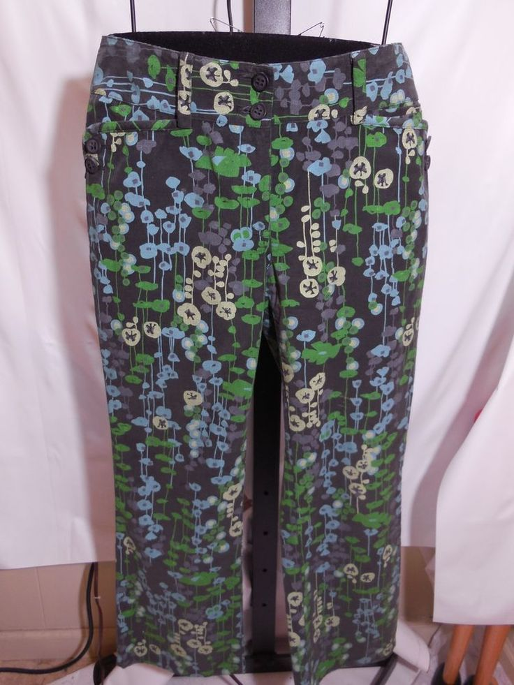 MISSES MID CENTURY MODERN SPRING PRINT THIN WALE CORDUROY PANTS ETCETERA 4  #Etcetera #Corduroys