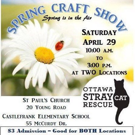 Come check out my table at the Ottawa Stray Cat craft sale this Saturday (April 29th) 10am-3pm. It will take place at 20 Young ST and 55 McCurdy Dr. Kanata.