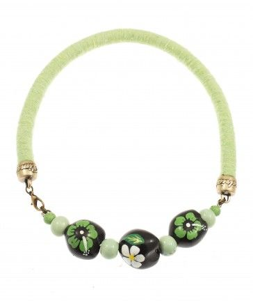Handmade bronze metal plated necklace with light green rope and stones, by Art Wear Dimitriadis