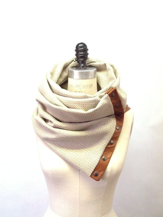 Cream wool Chunky circular infinity unisex scarf by System63