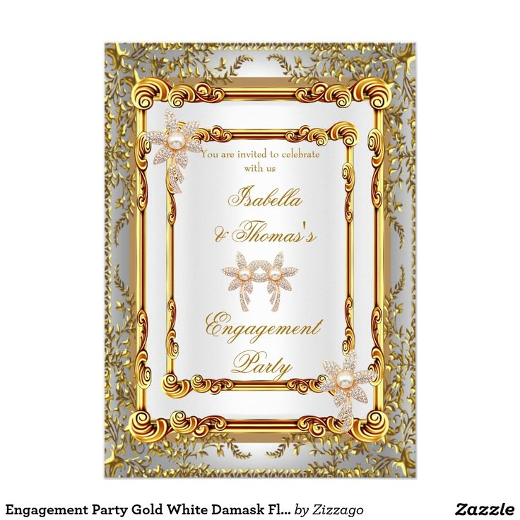 Engagement Party Gold White Damask Flowers 5x7 Paper Invitation Card
