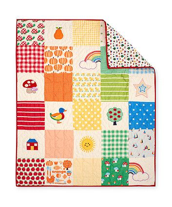 Little Bird Unisex Quilt with fun prints to add some vibrant colours to your babies nursery.