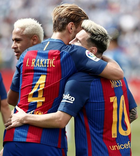 Barcelona's Lionel Messi celebrates after scoring a goal with his team mates…