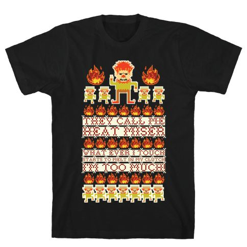 """They Call Me Heat Miser - Perfect for your next ugly Christmas sweater party. This design features an illustration of the Snow Miser and his minions and the lyrics """"They call me Heat Miser what ever I starts to melt in my clutch. I'm too much!"""""""
