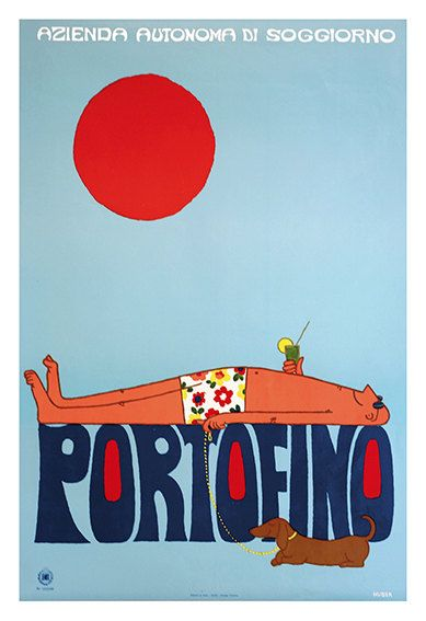 Portofino Italian Travel Poster Poster Paper Sticker by WallArty