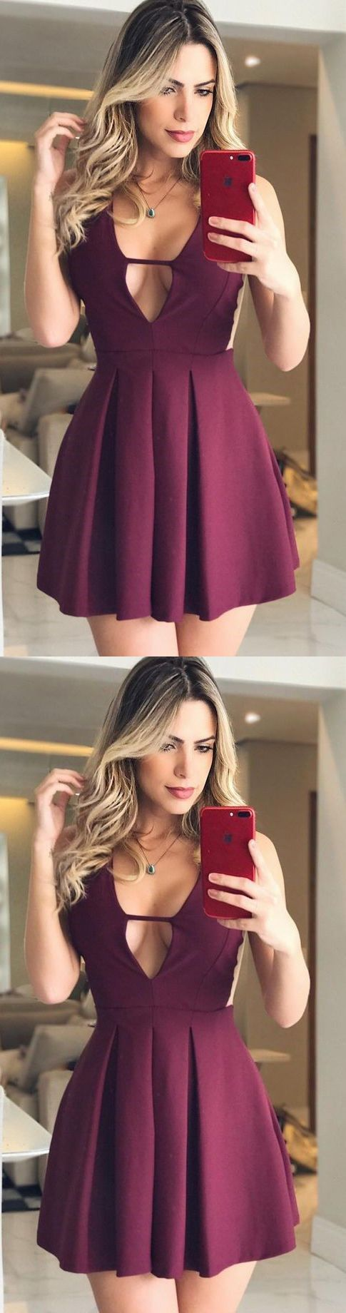 Short Burgundy Homecoming Dress with Ruched, Short V-Neck Prom Dress, Simple Party Dress for Girls #homecomingdresses