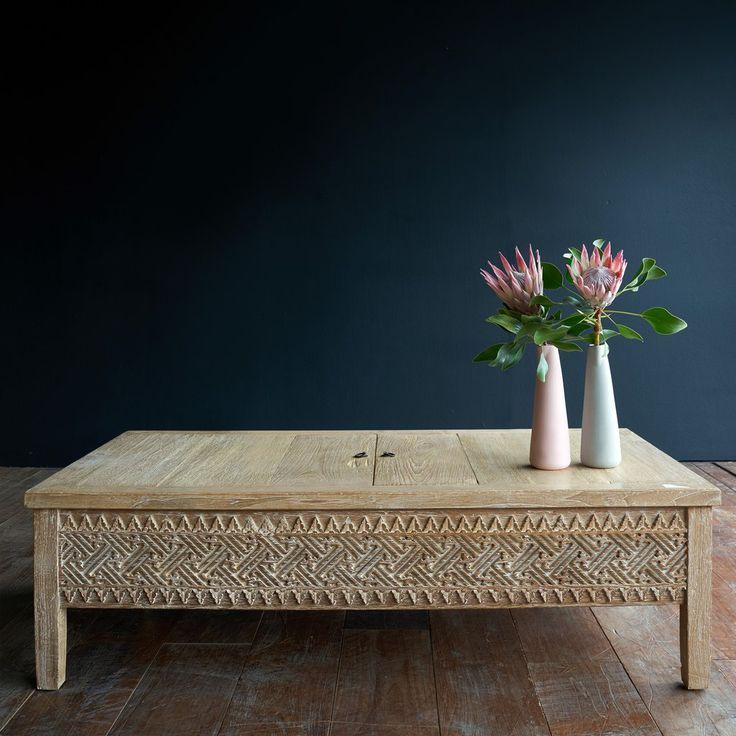 Carved Gledek WW JJ | Teak coffee table