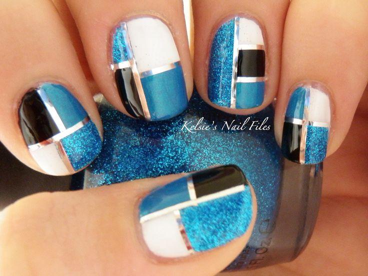 .: Nails File, Nails Art, Nails Design, Elegant Squares, Pretty Nails, Black White, Nails Polish, White Gold, Art Deco