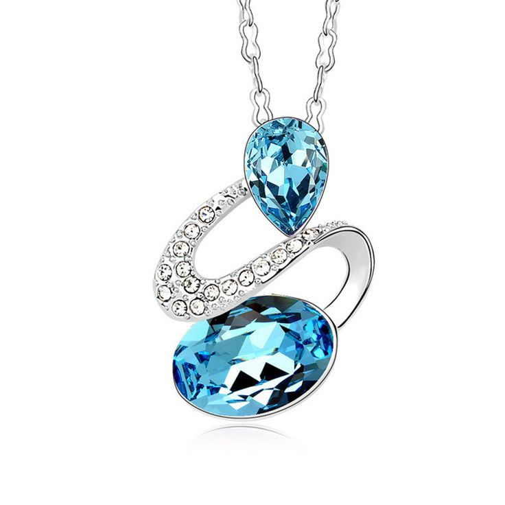 Lily Jewelry Chic Aqua Blue Austrian Swarovski Elements Crystal Water Drop Shape Necklace for Women ghzcogoVc