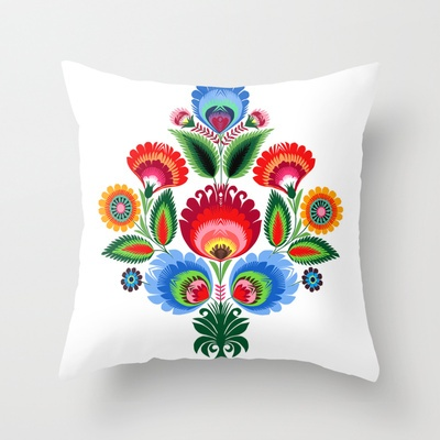 traditional polish folk art - vertically Throw Pillow by bachullus  - $20.00