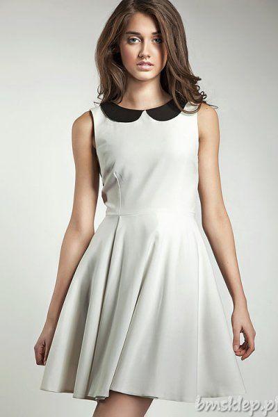 Bardzo kobieca i stylowa sukienka z kołnierzykiem, zachwyca swoją delikatnością i dziewczęcym wdziękiem. Podkreśli twój temperament i doda szlachetnej elegancji. Skład: 60% #poliester, 35% #wiskoza, 5% elastan.... #Sukienki - http://bmsklep.pl/sukienki
