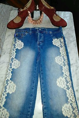 "Embrujo Ladies Beaded Embellished Jeans Size 26-1/2"" Waist.  SURPRISE GIFT"