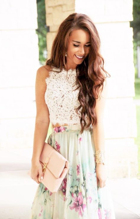 2017 SPRING & SUMMER FASHION TRENDS!! Stunning floral maxi skirt and lace crop top. blush clutch! This is a beautiful outfit for a Spring or Summer wedding, bridal or baby shower, Easter etc.... soft pastels make this so feminine and romantic. #stitchfix #sponsored ASK YOUR STYLIST TO SEND YOU ITEMS LIKE THIS WHEN YOU JOIN TODAY!