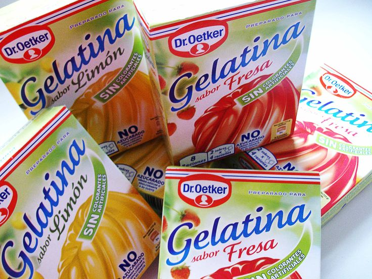 Preparado para Gelatina sin azúcar Dr Oetker, fresa o limón. Apto para dieta Dukan. Yo los compro en Supermercados Usera, en Madrid