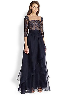Something different, navy Teri Jon with straight square neckline looks flattering but I bet you won't like the layered chiffon :) Teri Jon Lace-Top Chiffon Gown