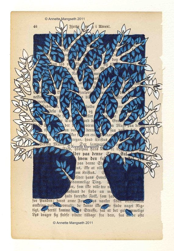 "trees painted on a book page...actually the tree is unpainted, and the ""negative space"" is what gets colored.  Like this very much.  OR could carefully cut out negative space on a page or two, making the tree really seem to stand out more."