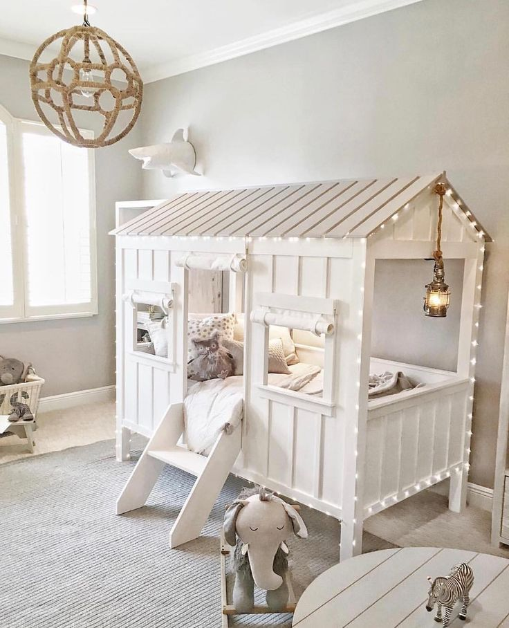 How gorgeous is this?! From the neutral color scheme, to the adorable cabin bed, and the magical twinkling lights Via @fashionablehostess... - Home Decor For Kids And Interior Design Ideas for Children, Toddler Room Ideas For Boys And Girls