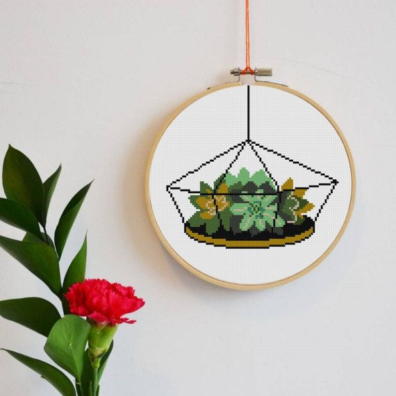 Cactus cross stitch pattern Modern cross stitch by HELENEWORKSHOP