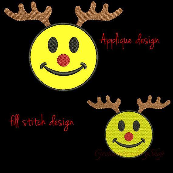 Deer smiley embroidery design,deer emoji applique embroidery design,deer face, emoticon,Christmas deer design, embroidery applique,