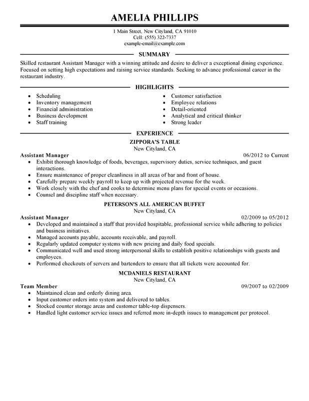 Restaurant Resume Templates Manager resume, Restaurant resume