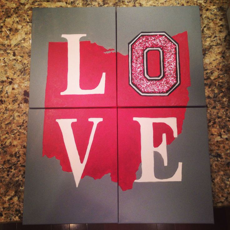 Cute ohio state craft!  Super easy too! On the computer, divide an outline of Ohio (or whatever state you want) into four equal parts. Then use graphite paper to trace the outline of the state, print out L O V E, trace that. Then fill in the lines and you have a beautiful wall decoration that shows your love of the best state ever! For the glitter, mix mod podge with any color glitter, or multiple if you wish and paint over the letter you want!