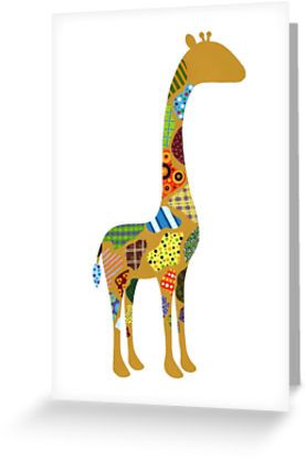 Patterned Giraffe Cards and Postcard by AnMGoug on Redbubble. #giraffe #card #kids