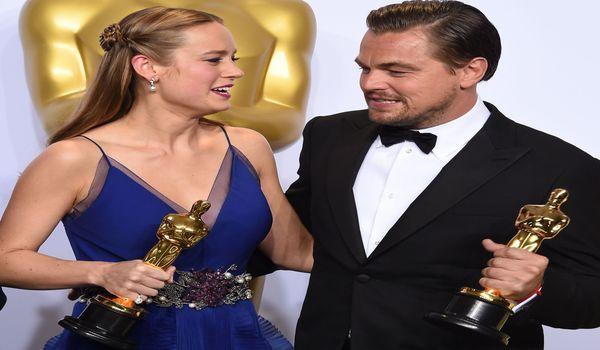 Aktris Brie Larson dan aktor Leonardo DiCaprio.