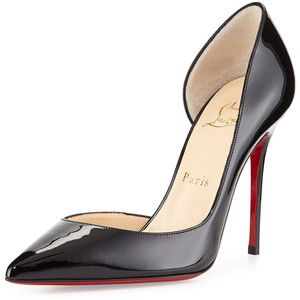Christian Louboutin Iriza Patent Half d'Orsay Red Sole Pump: Black patent shoes are always a classic to go with most outfits to smarten them up.  Slip a pair on and hang a structured handbag over your shoulder to feel like a top dog.