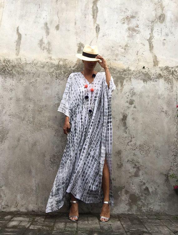 Stijlvolle Kaftan jurk geverfd / avond jurk, beach cover-up, Boho kleding, vakantie, zomer jurk, vrouwen kleden, vrije ruimte, Cruise reis