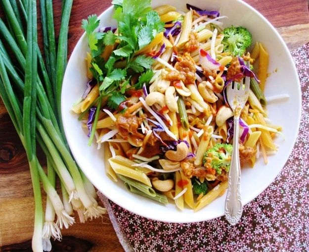 Pasta Salad with Spicy Peanut Butter Dressing