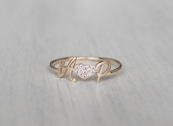 Personalized Initial Ring With CZ Stone Heart by GracePersonalized